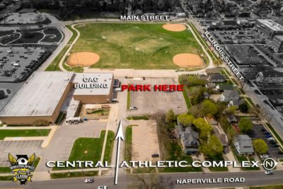 Aerial image of Central Athletic Complex with parking, building, streets labeled © Kmiecik Imagery